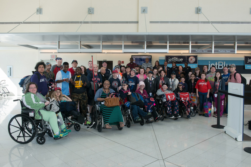 A group shot of the Jimmy Fund Clinic teens at the JetBlue terminal on their way home to Boston, Massachusetts.