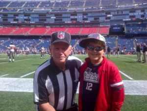 Sung's son, Spencer, on the field at Gillette Stadium