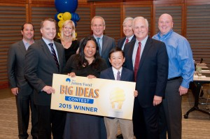2015 Jimmy Fund Big Ideas Contest winner the Surprenant family with the contest judges.