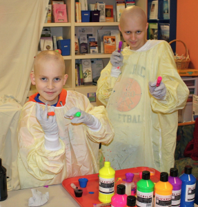 Shannon and Zack spending time together during isolation treatment at Dana-Farber Cancer Institute.