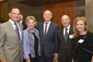 Justice Breyer (center) enjoyed a celebratory evening marking the important work supported by Dana-Farber Society members, including (left to right) Sen. Paul G. Kirk Jr., Gail Kirk, David Isenberg, and Nancy Maloney