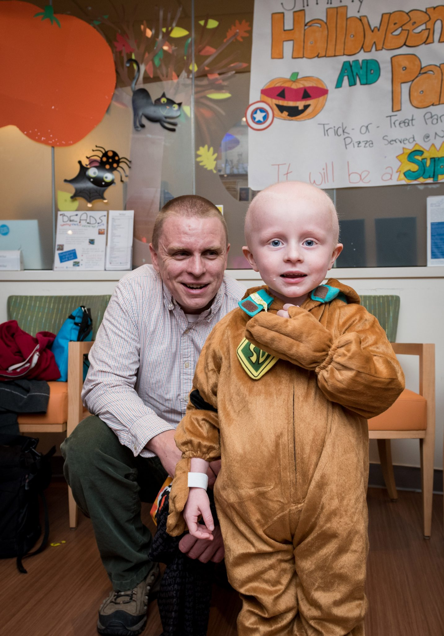 Dressed as Scooby-Doo, Jimmy Fund Clinic patient Joey is all smiles.