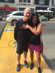 After her first chemo appointment, her boyfriend, Steve Kearns, proposed to her on the Boston Marathon finish line.