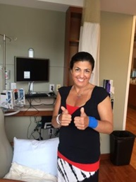 Sandee Stratton feeling positive at her first chemotherapy appointment.