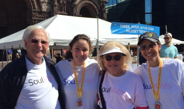 Pictured left to right, Larry Schlager, granddaughter Allison Schlager, Dana-Farber Trustee Judie Schlager, and mom/daughter-in-law Beth Schlager.   Eric Schlager (not pictured above), son of Larry and Judie,  is also a Dana-Farber Trustee.