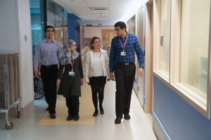 Caption: Pediatric oncology fellows (left to right) Hisham Moneib, Noura Maarouf, Claudia Mousa, and Ahmed Mahmoud Abdelfattah spent six weeks visiting Dana-Farber/Boston Children's Cancer and Blood Disorders Center from a pediatric cancer hospital in Cairo.