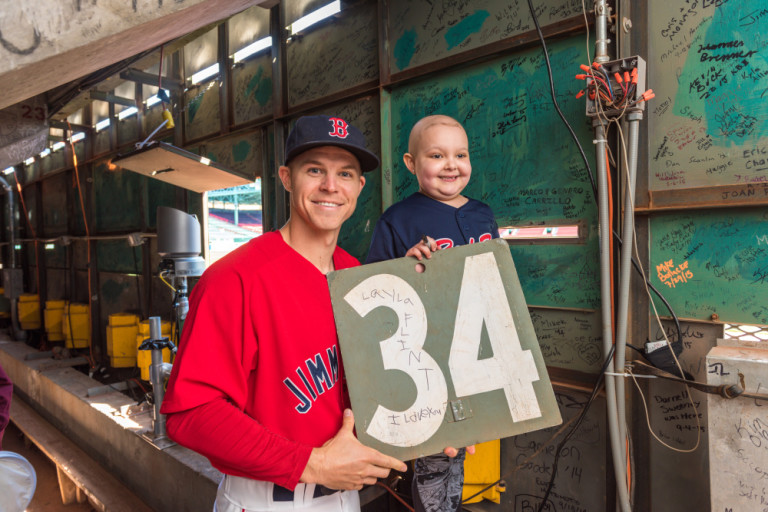 Layla and Brock inside the Green Monster with #34 (for David Ortiz).