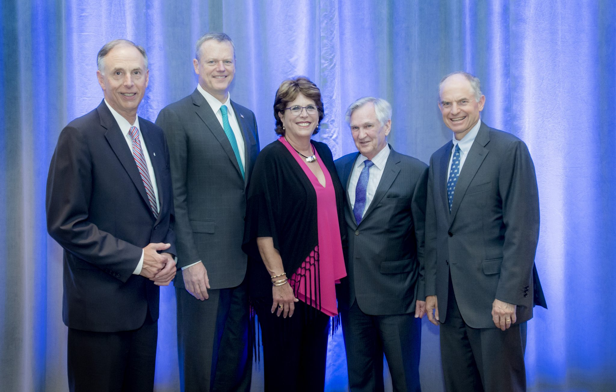 Gov. Baker (second from left) was joined by (left to right): DFS Co-Chair and Institute Trustee James Sadowsky; DFS Co-Chair and Institute Trustee Barbara Sadowsky; DFS member and Dana-Farber President and CEO Edward J. Benz Jr., MD; and Dana-Farber Board of Trustees Chairman Joshua Bekenstein.