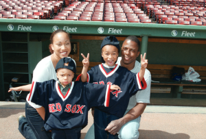 Javon and Terrell Graham pictured with their parents at Fenway Park in 2002.
