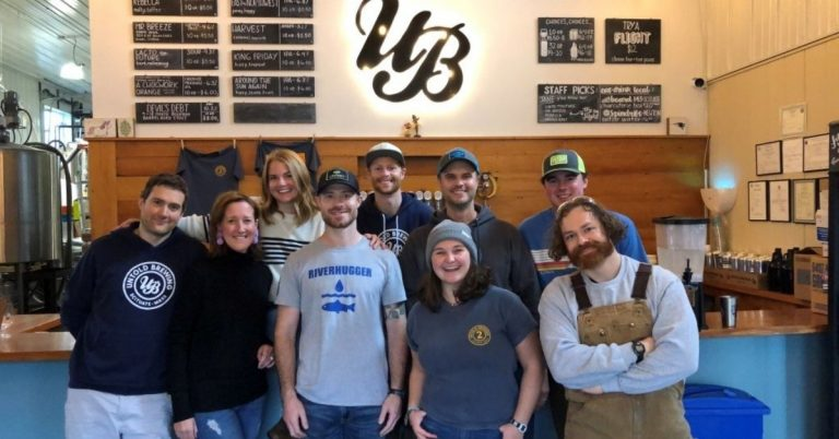 Becky (second from left) and the Untold Brewing team in 2019